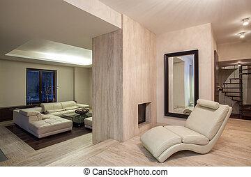 sala de estar, travertine, casa, -, lareira