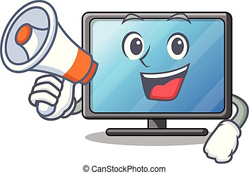 sala de estar, tv, lcd, megafone, caricatura