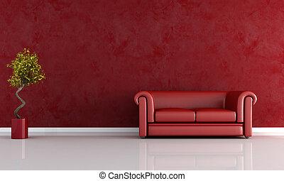 sala de estar, vermelho