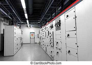 sala de mando, de, un, central eléctrica
