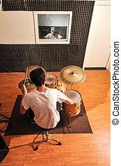sala de mando, tambor, estudio, música, tipo
