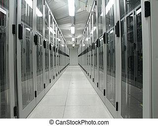 sala de ordenadores, servidor, él