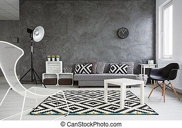 sala, decorado, com, estilo