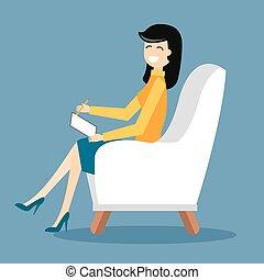 sala, escritório, ilustração, gabinete, psicólogo, vetorial