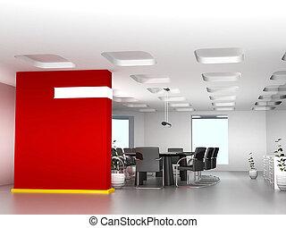 sala, escritório negócio, modernos, decoração, reunião