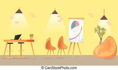 sala, espaço, indoor, coworking, desenho, interior, abertos