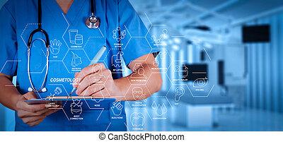 sala, esperto, doutor médico, sucesso, operando