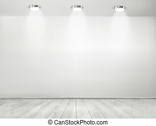 sala esposizione, floor., concept., legno, riflettori, ...
