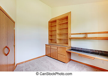 sala, estudo, gabinete, madeira, construir, repouso novo