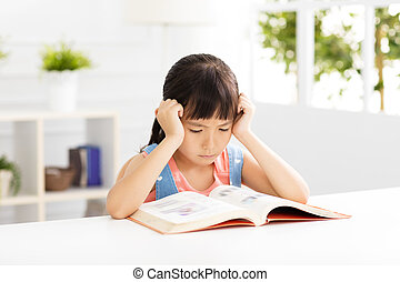 sala, estudo, menina, pequeno, vivendo, cansado