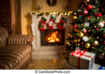 sala, foco, plano de fondo, adornado, navidad, afuera