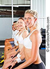 sala gimnastyczna, grupa, młodzież