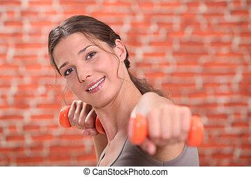 sala gimnastyczna, kobieta, klasa