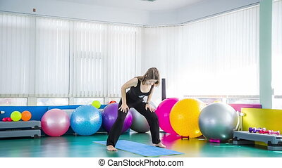 sala gimnastyczna, kobieta, yoga