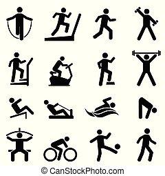 sala gimnastyczna, komplet, stosowność, ruch, ikona