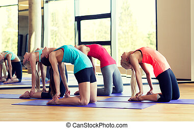 sala gimnastyczna, rozciąganie, grupa, uśmiechanie się, kobiety