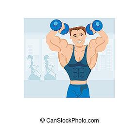sala gimnastyczna, silny, wykonując, człowiek