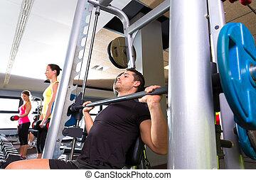sala gimnastyczna, system, weightlifting, stosowność, multipower, człowiek