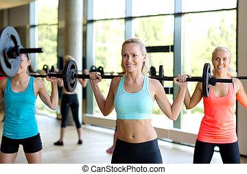 sala gimnastyczna, sztanga, grupa, kobiety