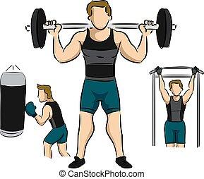 sala gimnastyczna, trening, ilustracja, człowiek
