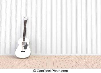 sala, guitarra, fazendo, acústico, branca, vazio, 3d