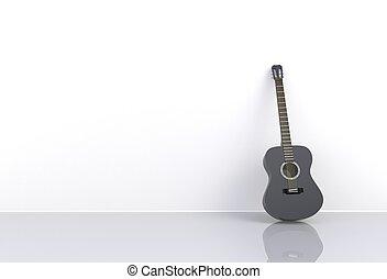 sala, guitarra, fazendo, pretas, acústico, vazio, 3d