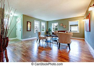 sala, hardwood., cereja, luminoso, grande, paredes, verde