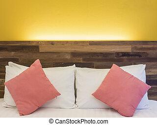 sala, hotel, cama, recurso, noturna, ou