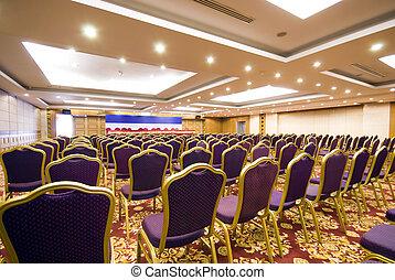 sala, hotel, upscale, espaçoso, reunião, luxo