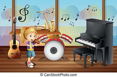 sala, instrumentos, dentro, músico, femininas, musical