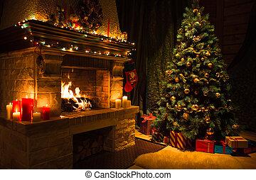 sala, interior, con, adornado, chimenea, y, árbol de navidad