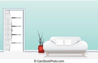 sala, interior, con, un, sofá, y, blanco, almohadas