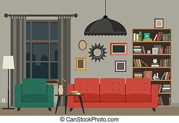 sala, interior, vivendo