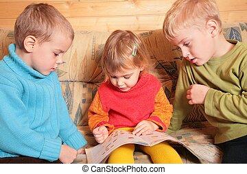 sala, ler, sofá, crianças, madeira, 2, livro