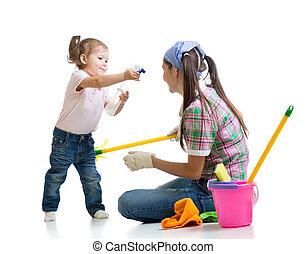 sala, limpeza, mãe, criança, divertimento, tendo