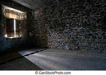 sala, luz solar, quebrada, através, janela., entrar, vazio