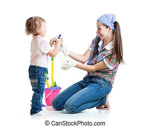 sala, mãe, limpeza, criança, divertimento, tendo