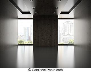 sala, madeira, modernos, fazendo, 2, vazio, parede, 3d