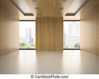 sala, madeira, modernos, fazendo, parede, vazio, 3d