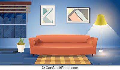 sala, moderno, vector, interior, caricatura