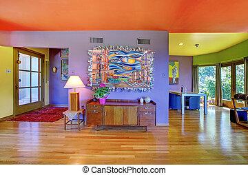 sala, púrpura, pared, brillante, retro