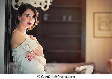 sala, porta, mulher bonita, ficar, luz, luxo, jovem