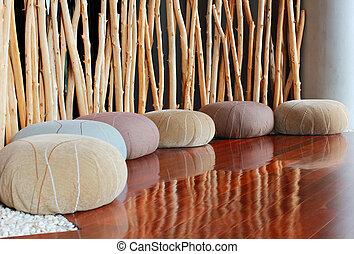 sala, quieto, assento, almofada, interior, meditação