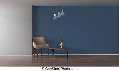 sala, realista, elegante, vector, interior, simulado