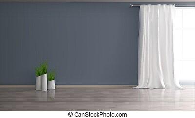 sala, realista, vector, interior, hogar, vacío
