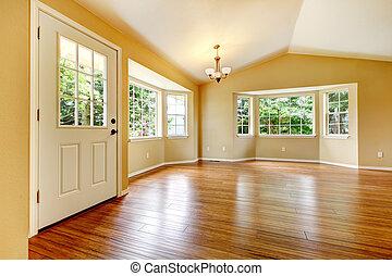 sala, remodeled, floor., grande, madera, nuevamente, vacío