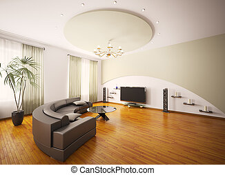 sala, render, moderno, interior, 3d