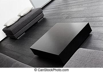 sala, sentando, modernos, parte, pretas, tons, interior, branca