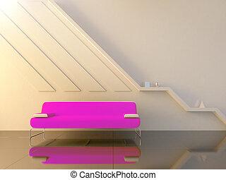 sala, sentando, modernos, -, sofá, violeta, interior