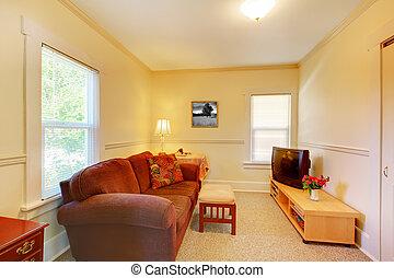 sala, simple, sofa., televisión, pequeño